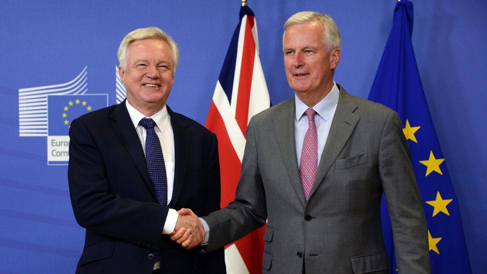 David Davis (left) and Michael Barnier