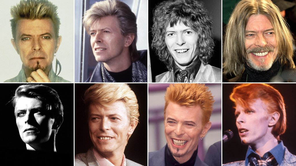 Photographs of David Bowie through the years
