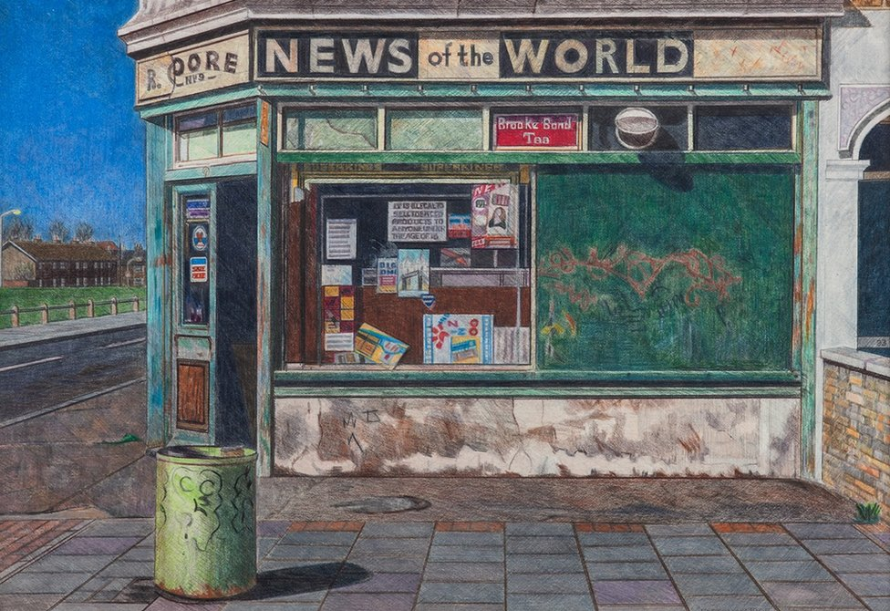 A painting of corner shop in Canning Town by Doreen Fletcher
