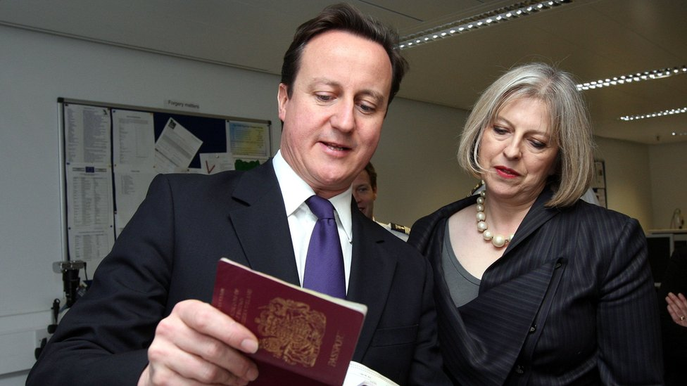 David Cameron with Theresa May, when she was his home secretary