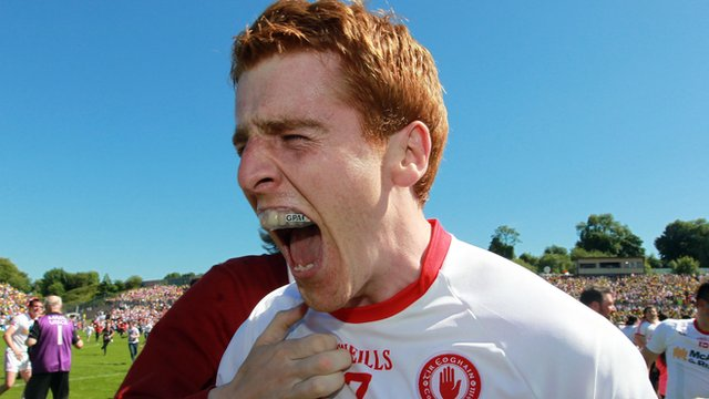 Tyrone's Peter Harte celebrates winning the Ulster Senior Football Championship