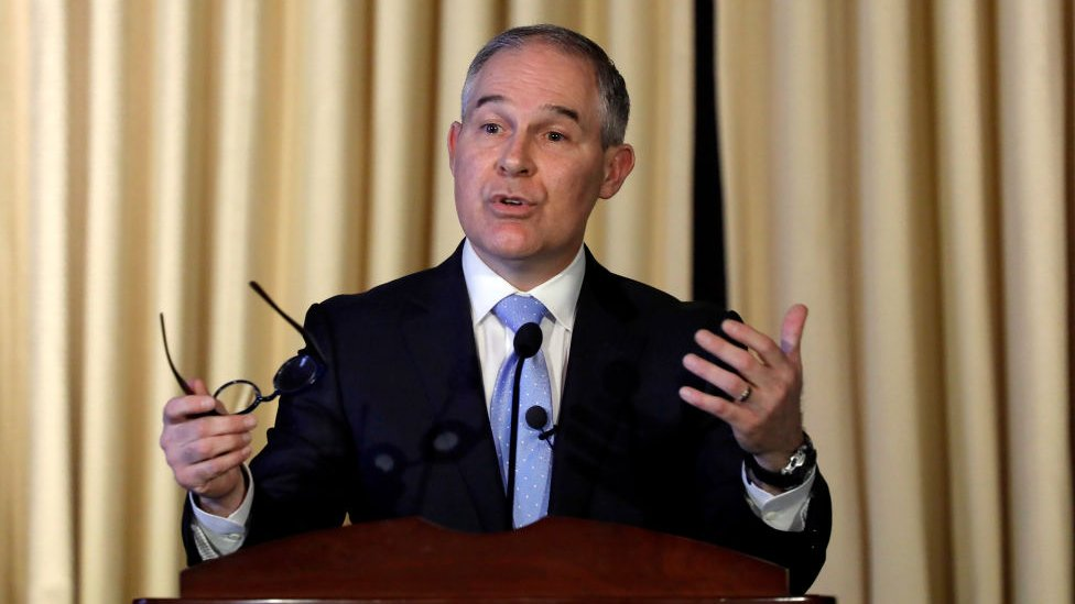 Environmental Protection Agency Administrator Scott Pruitt address employees at the agency's headquarters in Washington.