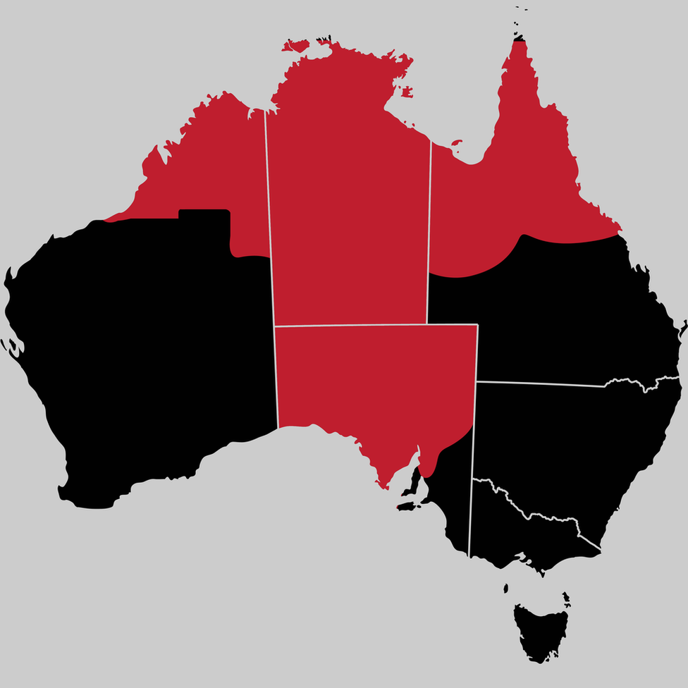 A map showing how syphilis has reached into Western Australia, Queensland, Northern Territory and South Australia