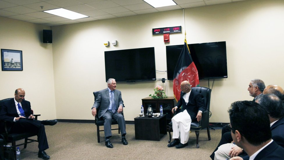 A photo of the meeting released by the US embassy in Kabul