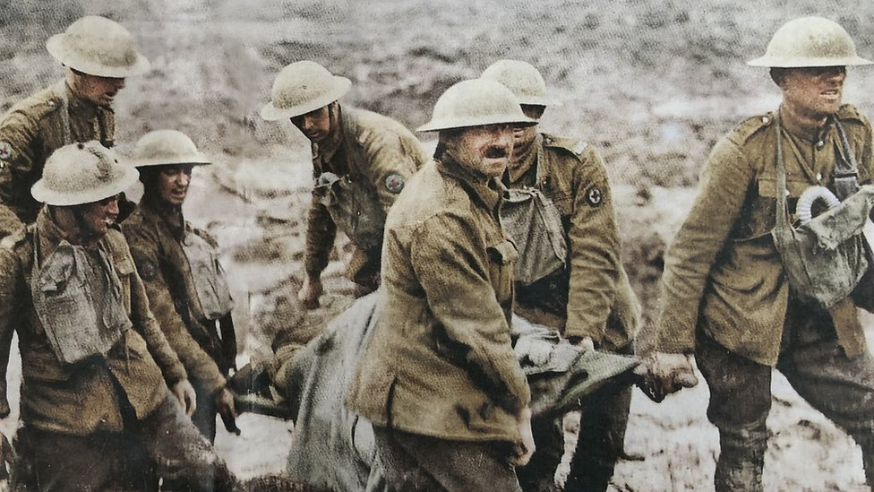 Soldiers at Ypres carrying a stretcher