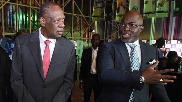 Caf President Issa Hayatou (left) and Nigeria Football Federation president Amaju Pinnick (r)