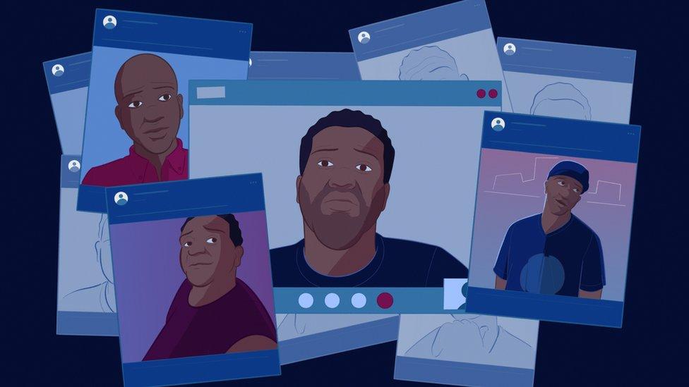 Ilustración de perfiles de migrantes.