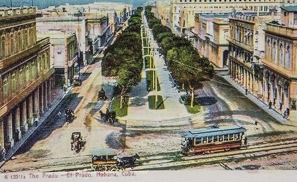 Color postcard of overview of Prado Promenade, Havana, Cuba, circa 1915.