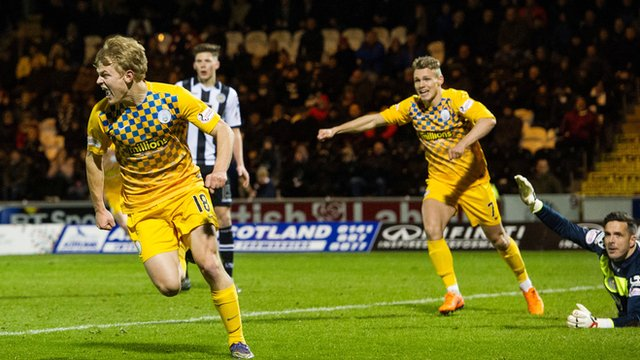 Morton's Alex Samuel celebrates his late goal
