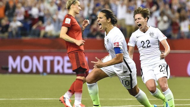 USA's Carli Lloyd celebrates after scoring against Germany