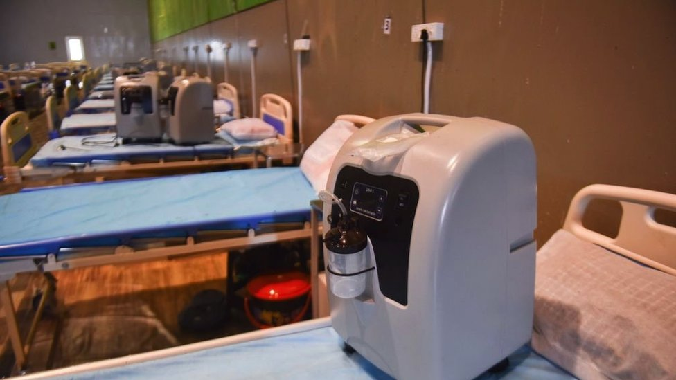 Máquina concentradora de oxígeno utilizada en Nueva Delhi, India.