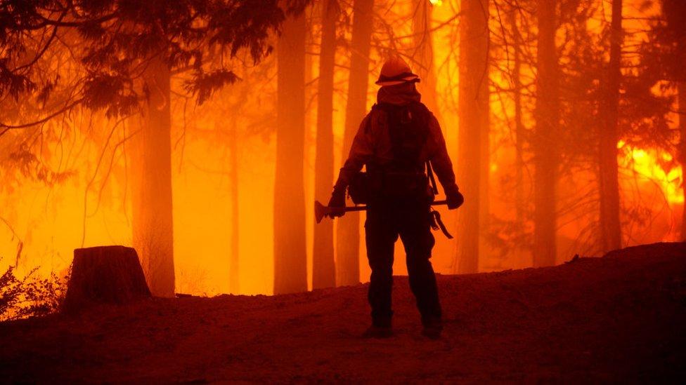 Wildfires burn in California