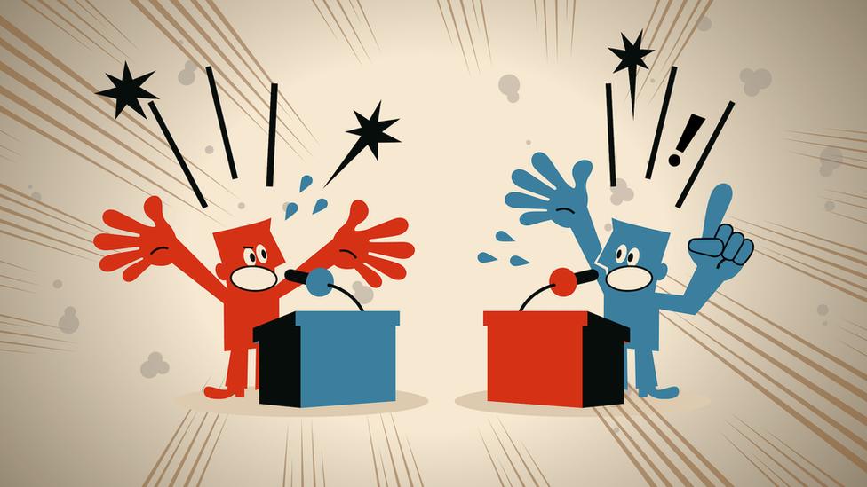 رسم توضيحي يظهر شخصين يتجادلان