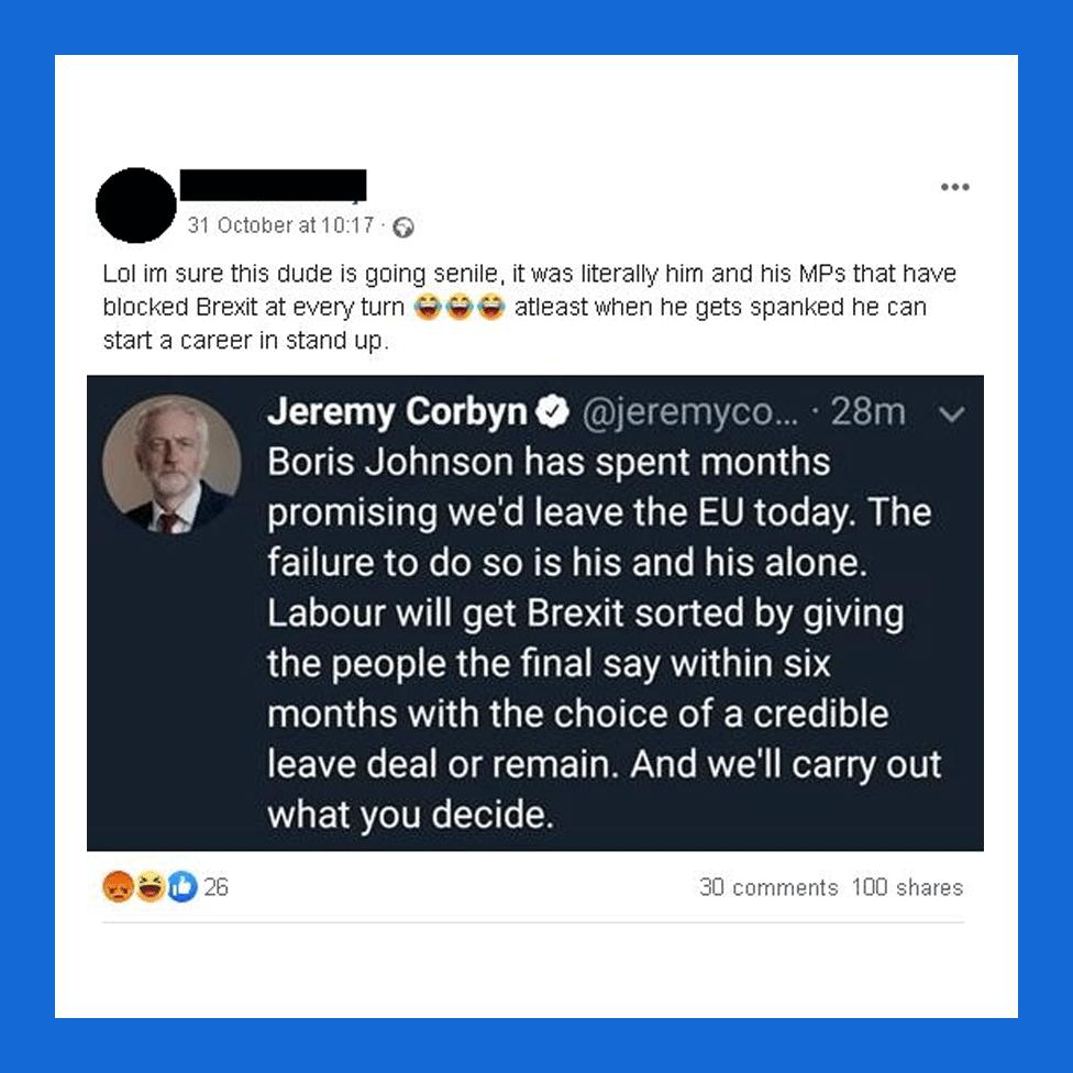 A critical tweet about Jeremy Corbyn