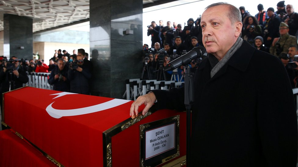 Turkish President Recep Tayyip Erdogan attends the funeral of Musa Ozalka, a soldier killed in the Afrin operation (23 January 2018)