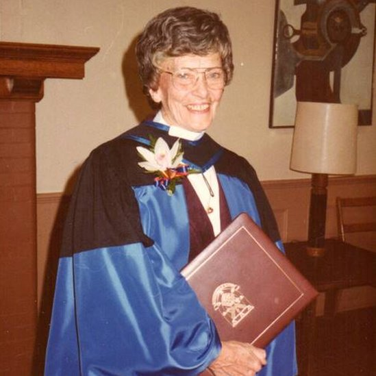Dr Peters receiving an honorary doctorate degree from Queen's University in 1983