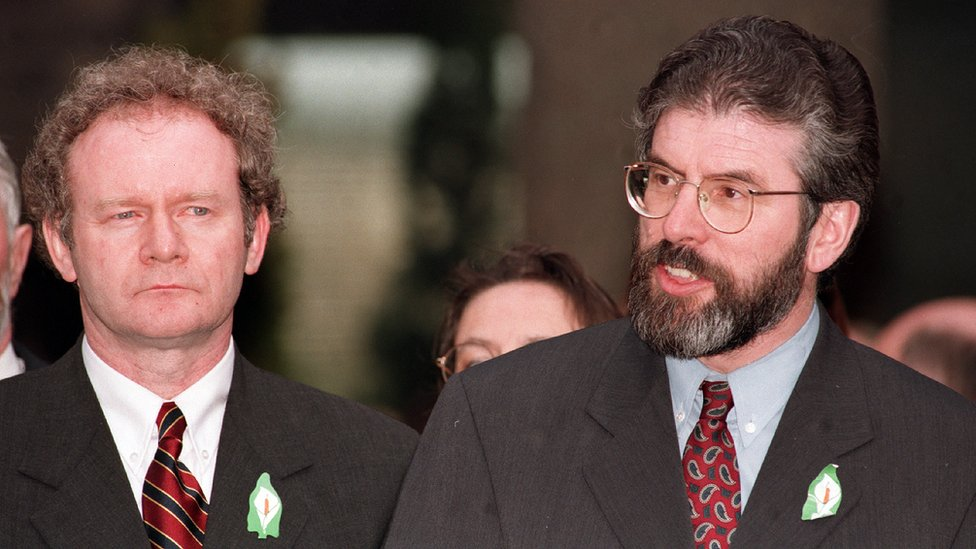 Martin McGuinness and Gerry Adams on Good Friday 1998