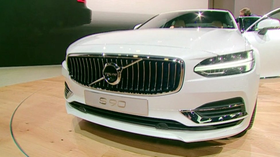 A Volvo S90 Sedan at the Detroit auto show.