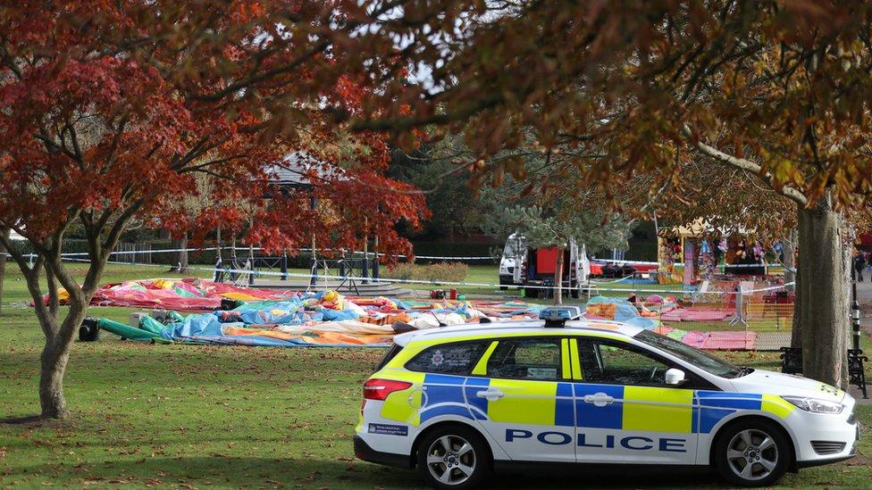 Woking Park deflated inflatable slide