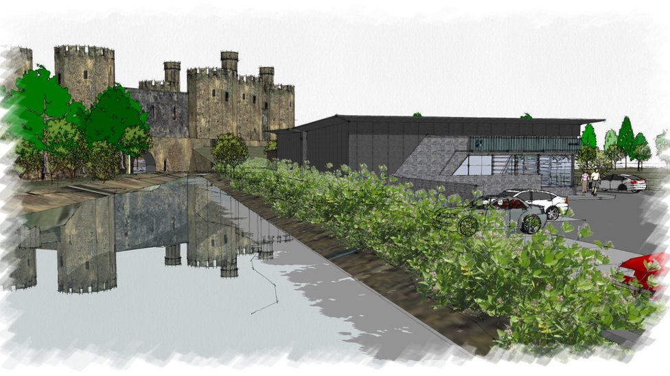 Artists impression of the co-op and castle