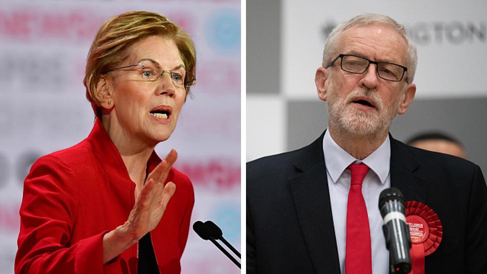 Massachusetts Senator Elizabeth Warren and Labour Party leader Jeremy Corbyn