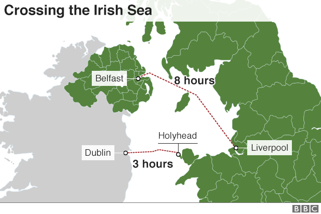 Map showing routes across the Irish Sea from Holyhead and Liverpool