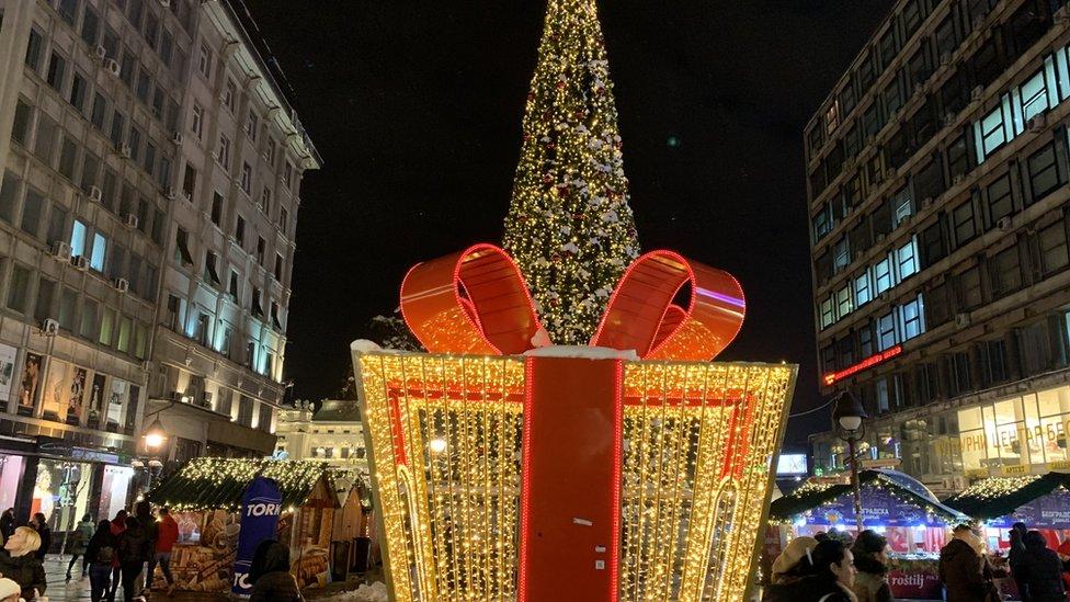 Novogodišnji ukrasi u centru Beograda