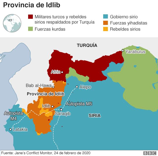 Mapa sobre el control de Idlib.