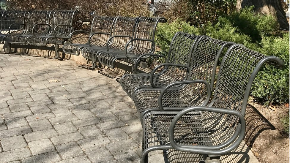 Benches at a small park in Washington DC