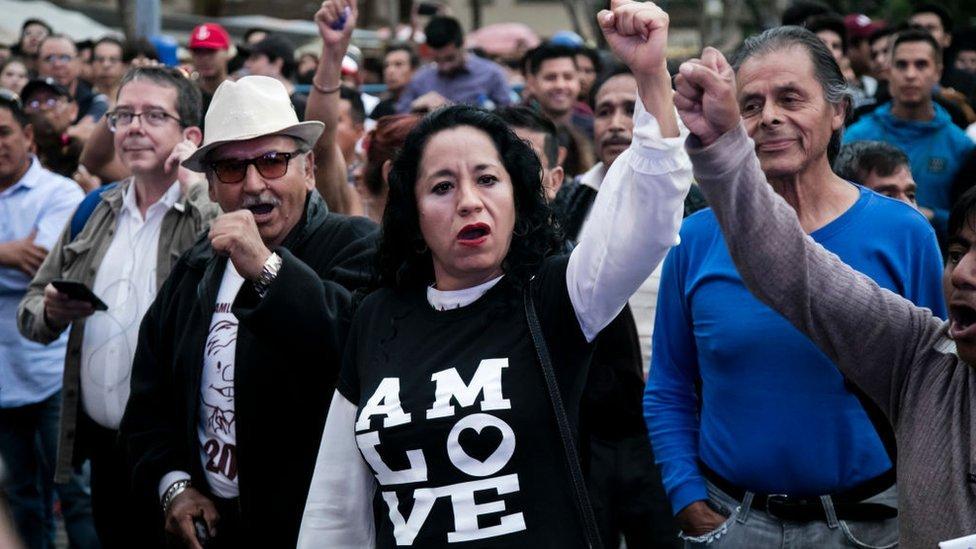 Protesta en apoyo a López Obrador.