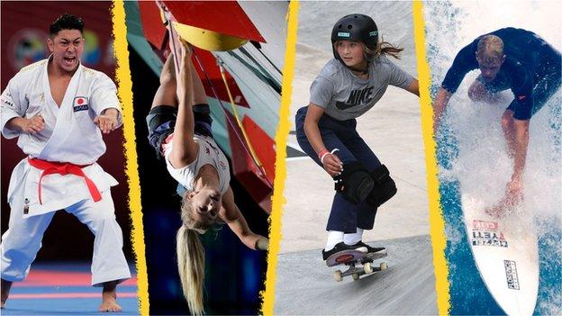 Collage del karateca Damian Quintero, escaladora Shauna Coxsey, patinadora Sky Brown, and surfista John John Florence