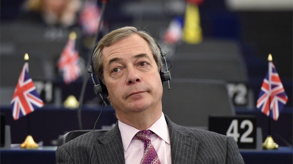 Nigel Farage at a debate on the progress of Brexit talks