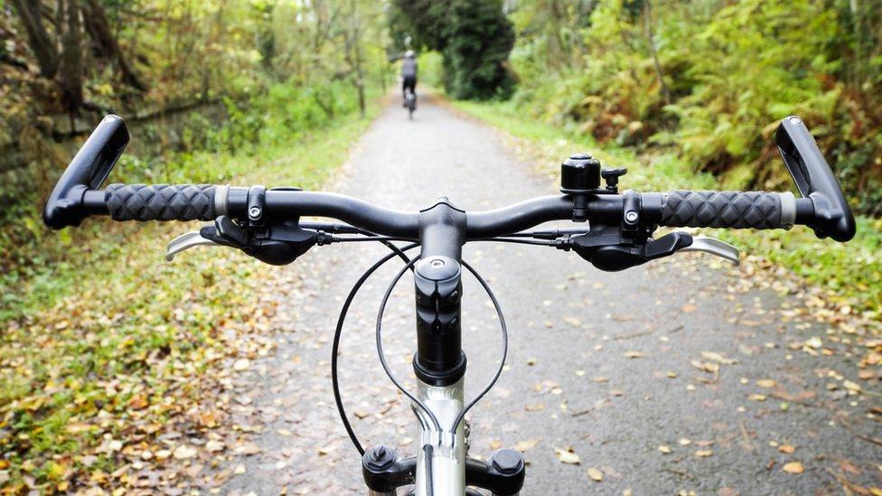 Handlebars on cycle path