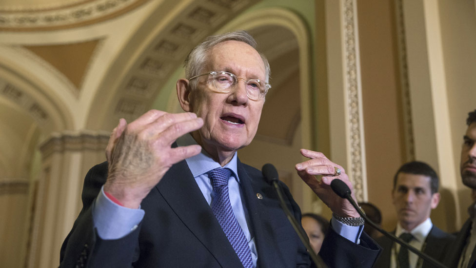 Senate Minority Leader Harry Reid of Nev. expresses his frustration with the Republican leadership during a news conference following a meeting on Capitol Hill in Washington, 1 December 2015