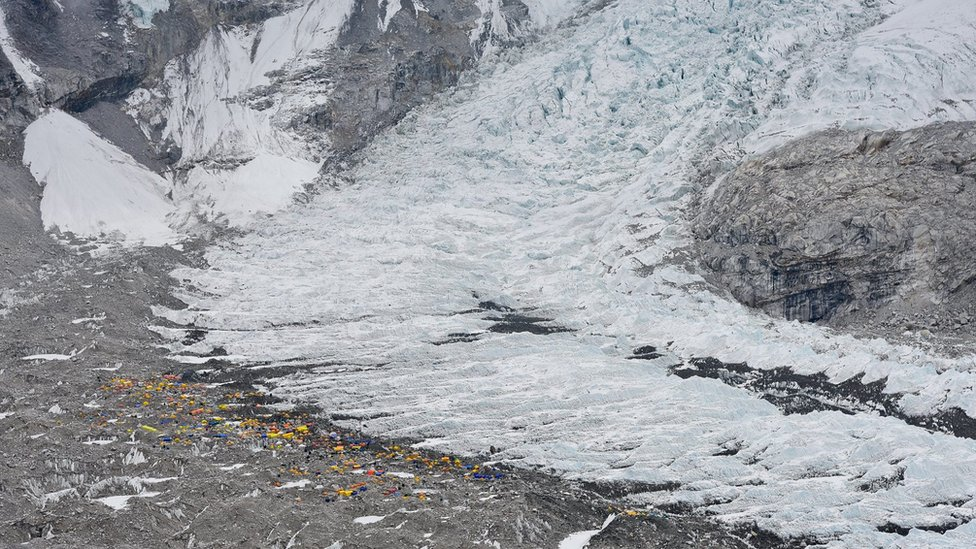 Everest Base Camp at the base of the Khumbu glacier