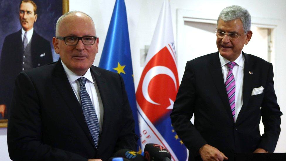 European Commission Vice-President Frans Timmermans (L) and Turkey's Minister for European Affairs Vokan Bozkir