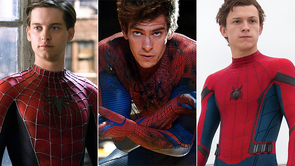 Tobey Maguire, Andrew Garfield, y Tom Holland