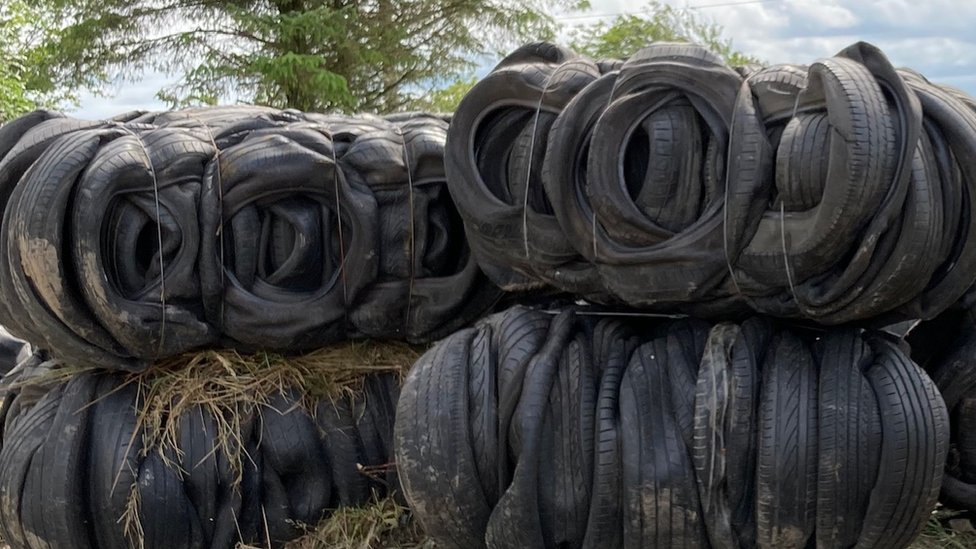 Used tyres in a County Tyrone field