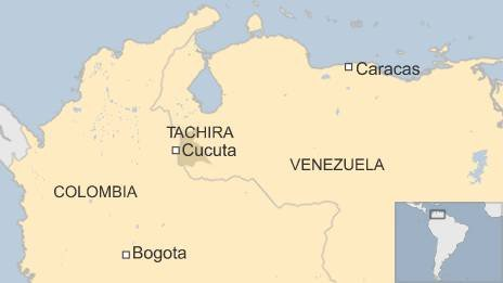 Map of Colombia and Venezuela