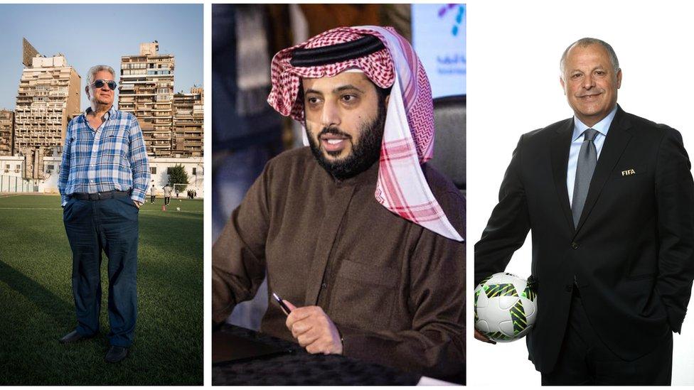 هاني أبو ريدة وتركي آل الشيخ ومرتضى منصور