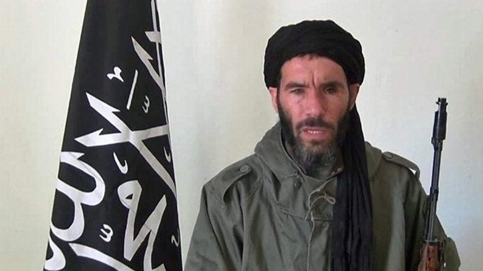 Former Al-Qaeda in the Islamic Maghreb (AQIM) emir Mokhtar Belmokhtar speaking at an undisclosed location