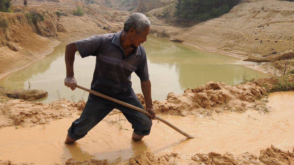 A rare earth mineral mine in China