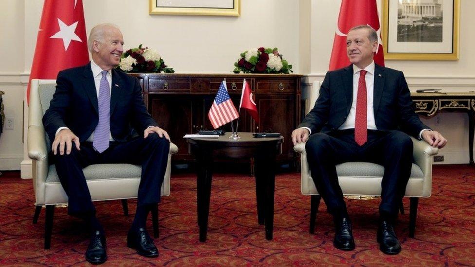 Biden ve Erdoğan'ın 2016'da Washington'daki bir görüşmesinden