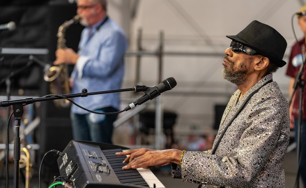 Henry Butler and The Jambalaya Band performs during the New Orleans Jazz & Heritage Festival 2018