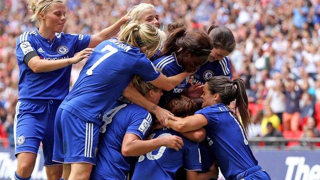 Chelsea Ladies celebrate Ji So-Yun's goal