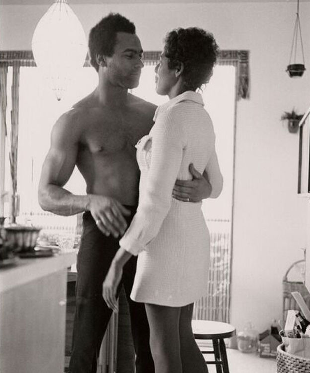 Huey Newton and Elaine Brown in Newton's apartment in Oakland
