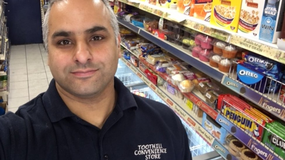 Pritpal Dale in his shop Toothill Convenience Store, on Toothill Road, in Loughborough, Leicestershire