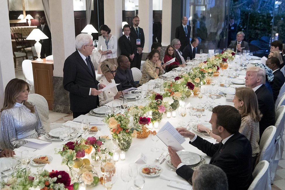 Italian President Sergio Mattarella delivers a speech to the G7 dinner in Taormina, 26 May