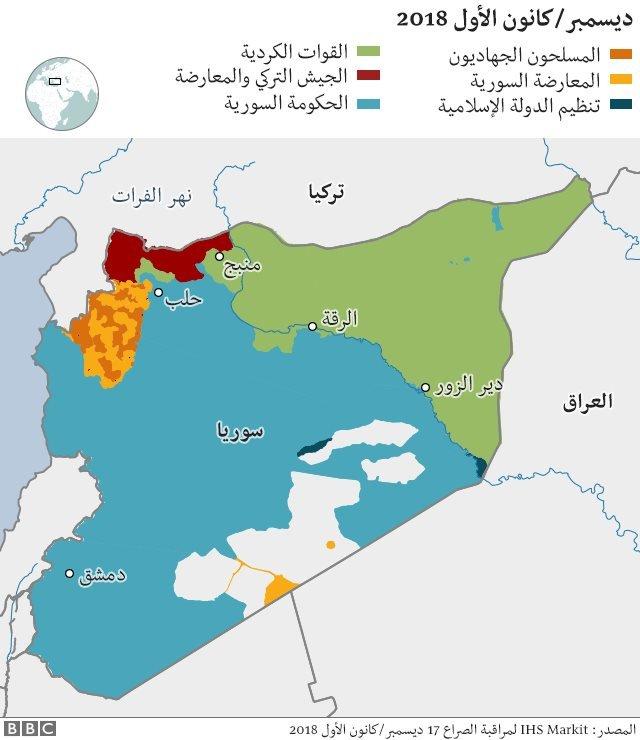 مناطق سيطرة الأكراد والقوى الأخرى في سوريا