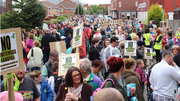 Residents from Skelmersdale march against the proposed extension of the Whitemoss Landfill site in 2014